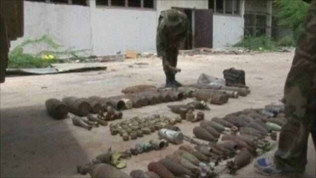 African Union troop arranging artillery