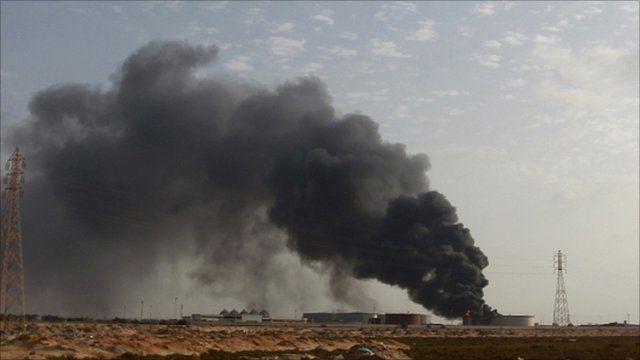 Smoke rising from Libyan oil storage facility