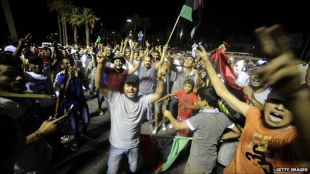 Rebel supporters celebrate in Green Square