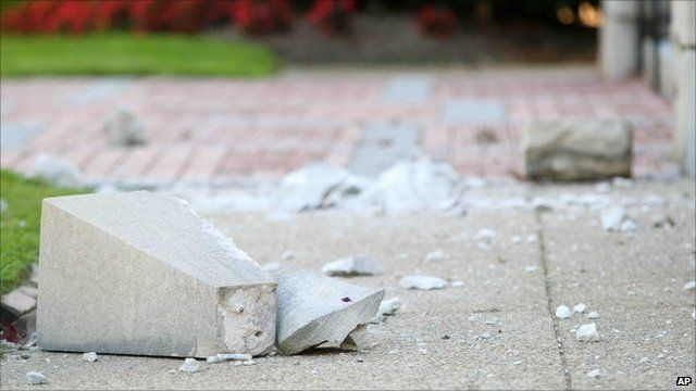 Chunks of stone which have fallen from church roof in Delaware