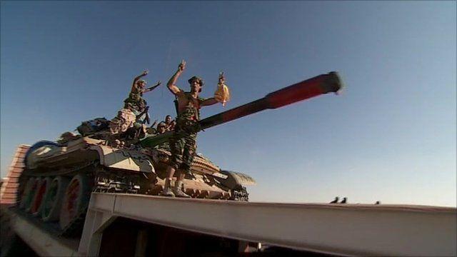 Rebel forces celebrating