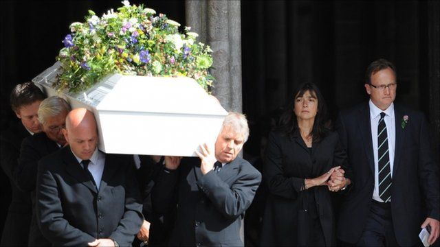 David and Olivia Chapple, the parents of Horatio Chapple, 17, who was mauled to death by a polar bear in Norway earlier this month, follow as his coffin is carried from Salisbury Cathedral in Wiltshire
