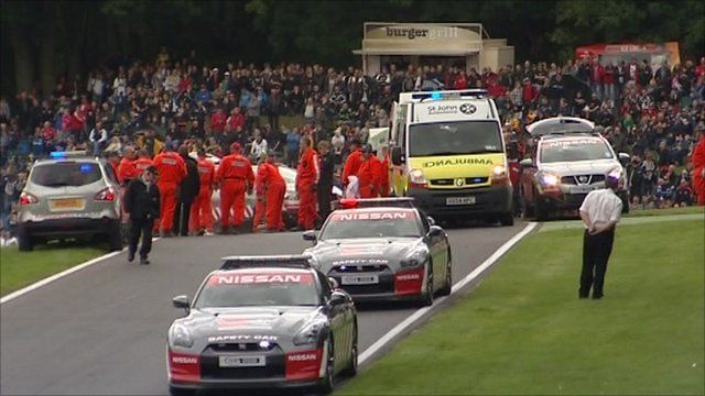 The scene at Cadwell Park following the incident