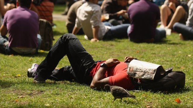 Man enjoying the sunshine in the UK