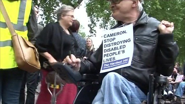 Disabled protester