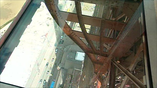 The view through a glass floor at the top of Blackpool Tower