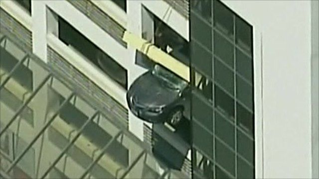 The car hanging from the car park