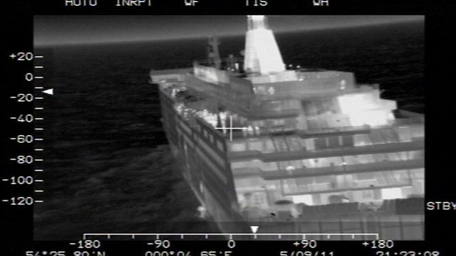 Thermal image of ferry