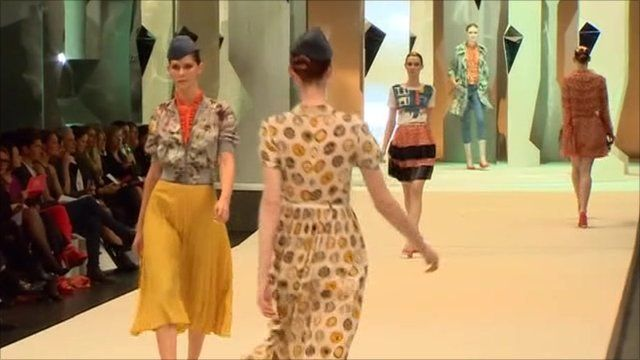 Models at on the catwalk at a fashion show in Sydney