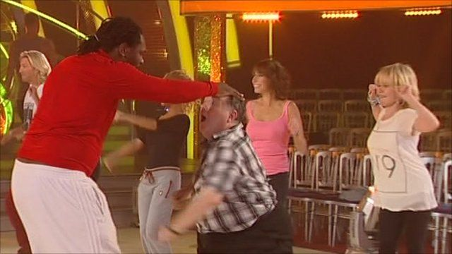 Audley Harrison, Russell Grant and Lulu rehearsing