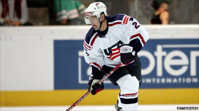 Ice hockey player Brett Hauer playing for the US team in 2005