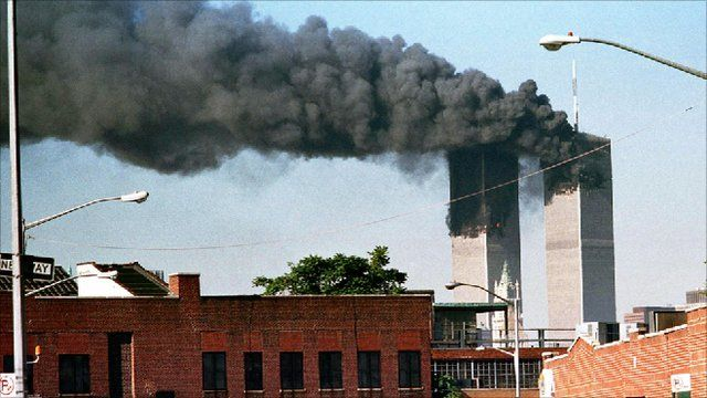 The World Trade Centre towers after terrorists crashed two hijacked planes into the towers, killing thousands.