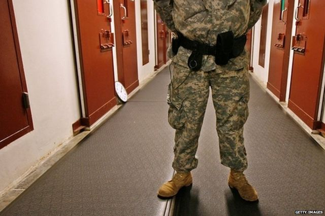 U.S. Army guard inside Guantanamo Bay Detention Camp