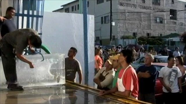 Ice sold by the block in Mexico as freezers fail in power cut