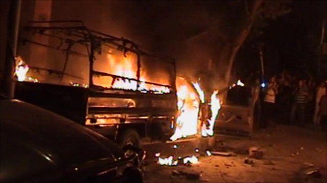 Fire outside Cairo's Israeli embassy