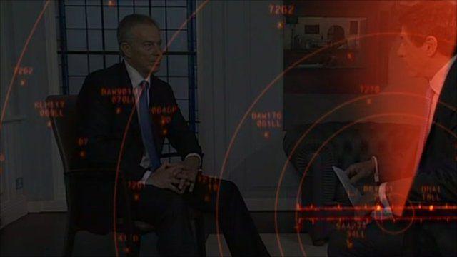 Tony Blair being interviewed by Jon Sopel