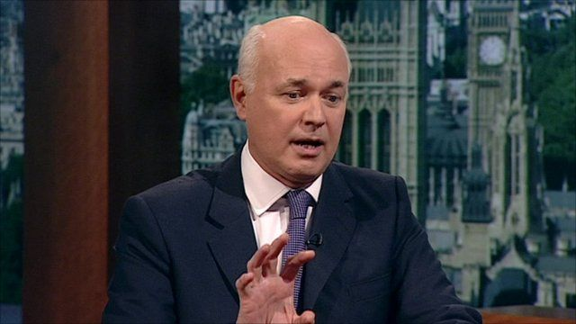 Iain Duncan Smith, the Work and Pensions Secretary talks to Andrew Marr