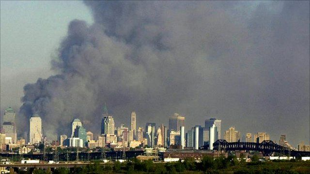Smoke rises above Manhattan after the 9/11 attacks on the World Trade Center