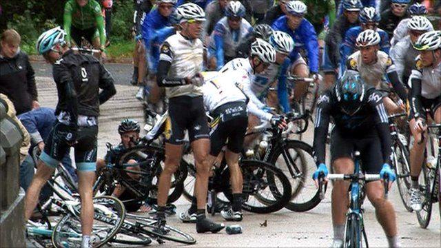 Riders crash during the Tour of Britain