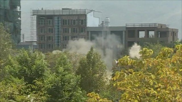Smoke rising from buildings in Kabul
