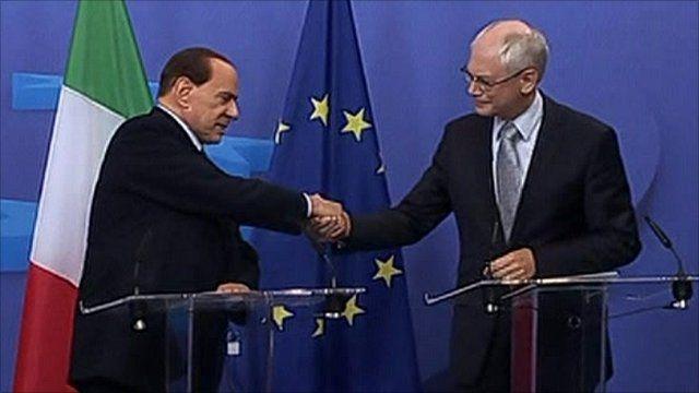 European Council President Herman van Rompuy and Italian Prime Minister Silvio Berlusconi