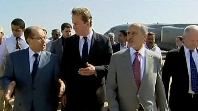 NTC interim leader Mustafa Abdul Jalil with British Prime Minister David Cameron and NTC interim Prime Minister Mahmoud Jebril
