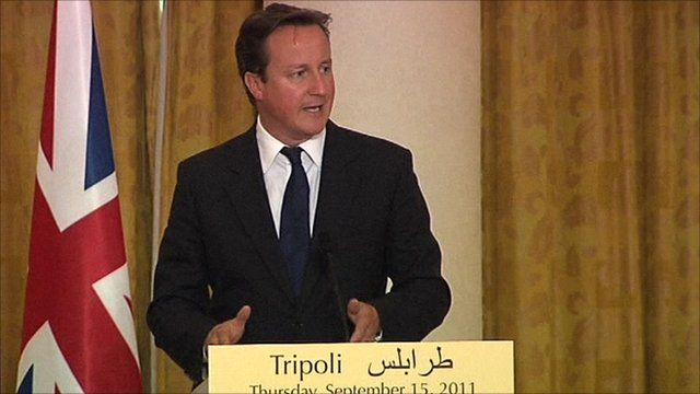 UK Prime Minister David Cameron in Tripoli