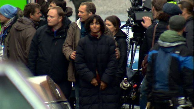 Halle Berry on the set of Cloud Atlas
