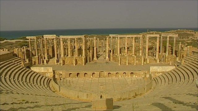 Leptis Magna, the ancient roman city on the Mediterranean