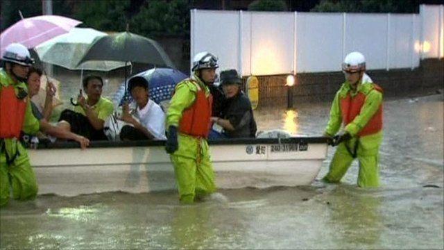 People evacuated in Japan