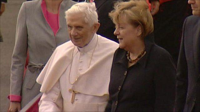 Pope Benedict and German Chancellor Merkel