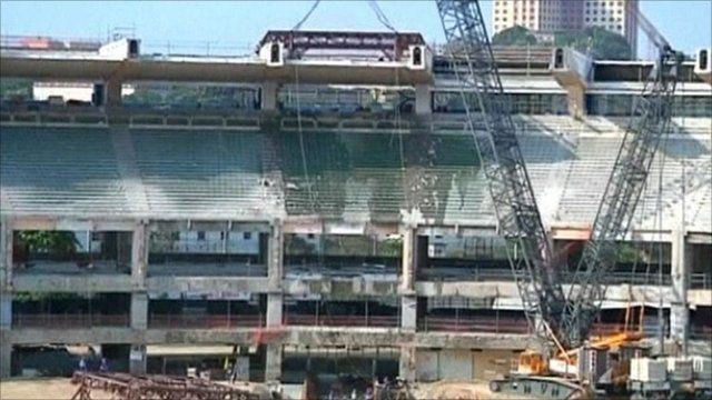Building work on Maracana Football Stadium, Rio de Janeiro