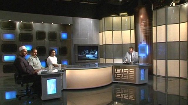 Politicians being interviewed on Egyptian TV