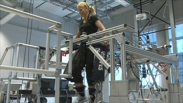 A stroke victim demonstrating how the robotic legs work