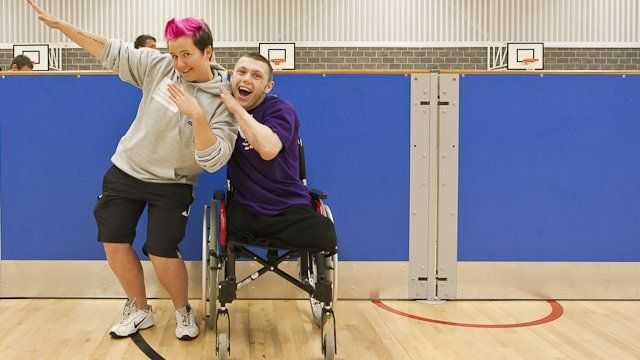 Sports worker Sarah Price with Paralympic hopeful Lyndon Longhorne