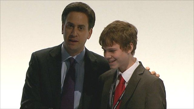 Labour leader Ed Miliband with Rory Weal