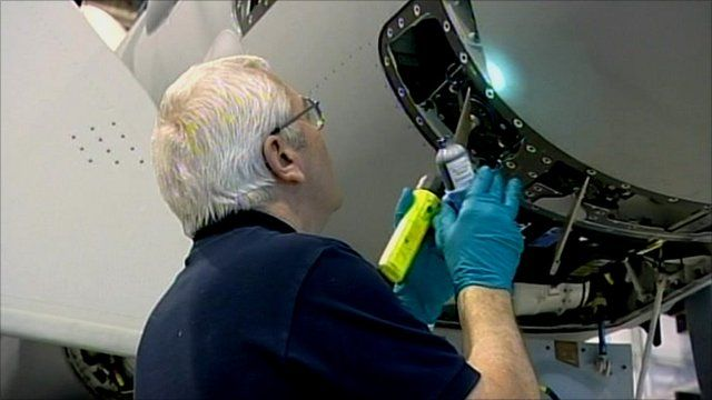 Man working on a plane