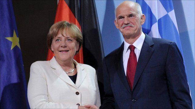 Angela Merkel and George Papandreou