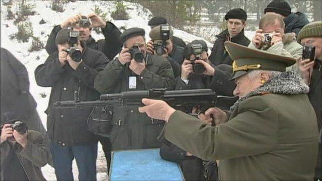 Mikhail Kalashnikov with gun