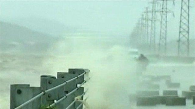 Waves lash the coast of southern China