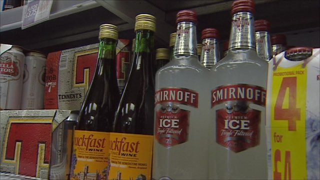 Alcoholic drinks on shop shelf