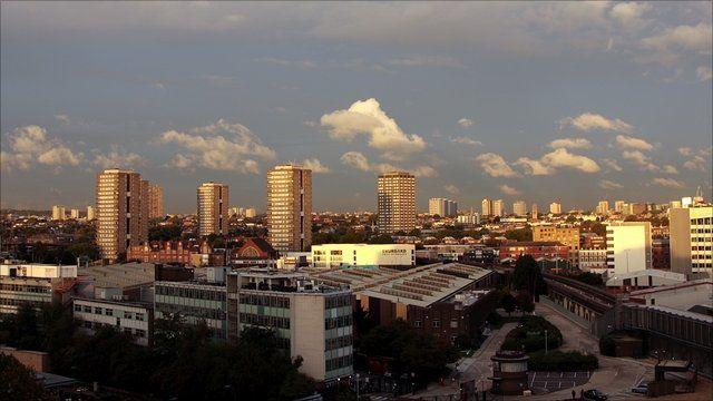 Council housing in high-rise flats, London