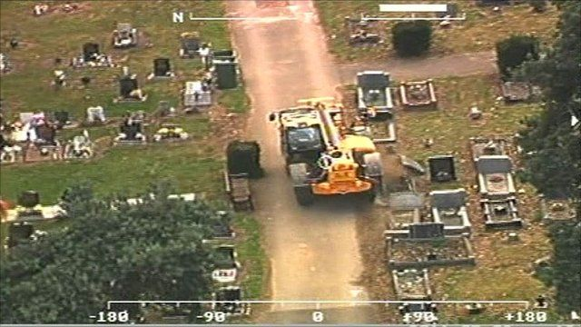 A police helicopter camera captures Steven Regan's destructive rampage
