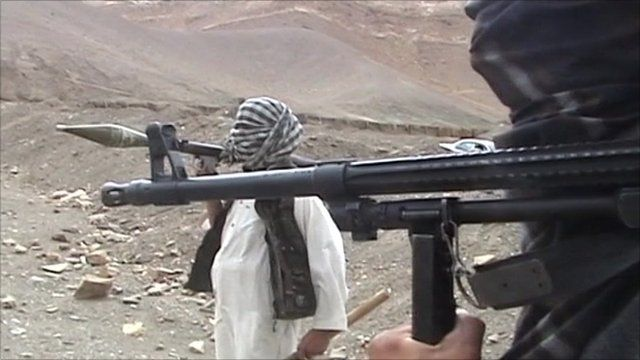 Taliban fighters holding weapons