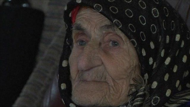 Chechen villager Kesi Karuyeva, whocould be the world's oldest woman