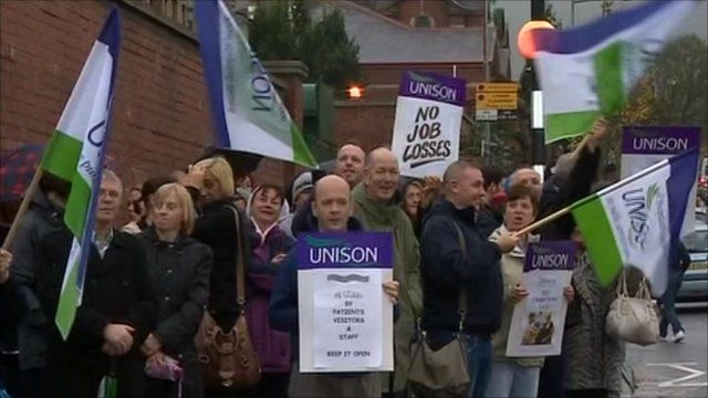 Unison members on strike