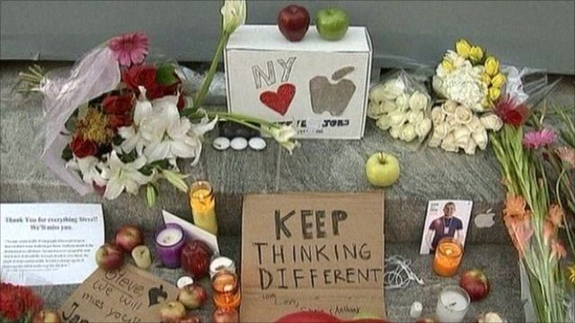 Fan's tributes to Steve Jobs in New York