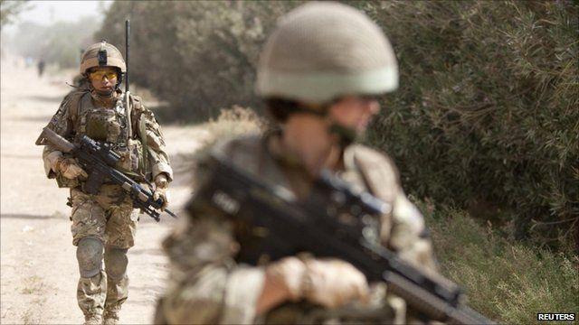 British soldiers patrol in Helmand province