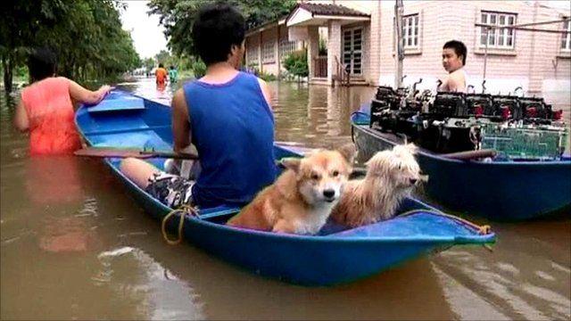 Ayutthaya residents evacuating