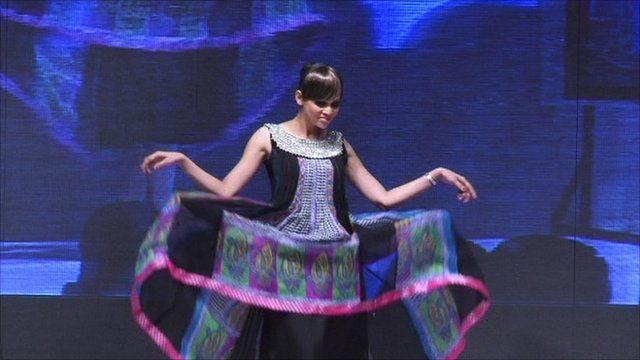 Pakistani model performs at Karachi Fashion Week